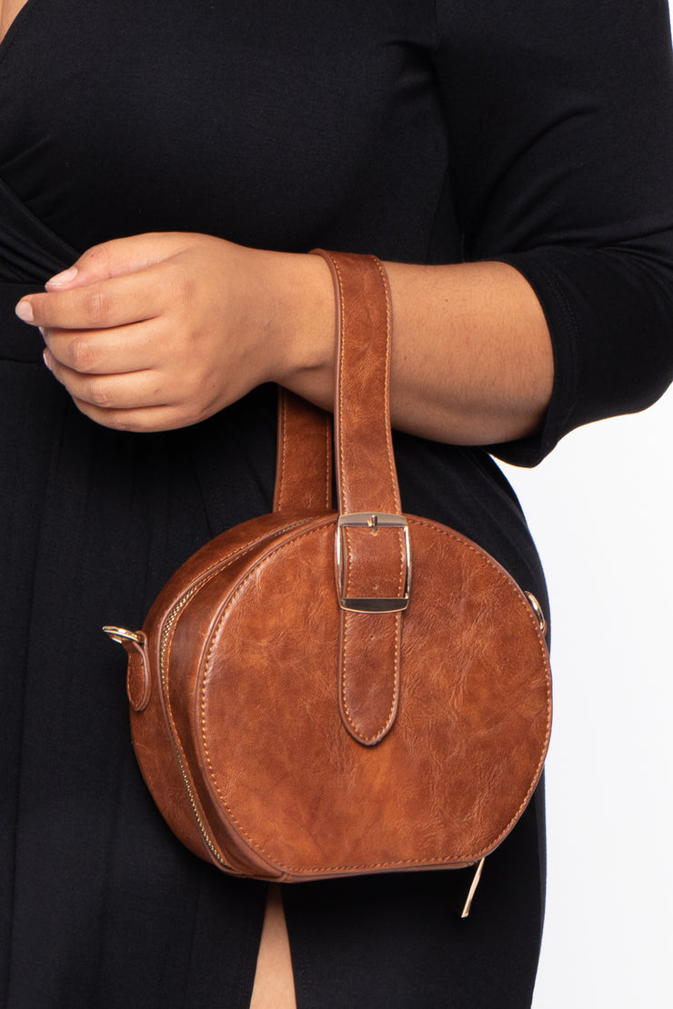 Paris Faux Leather Belted Circle Bag - Brown - Curvy Sense