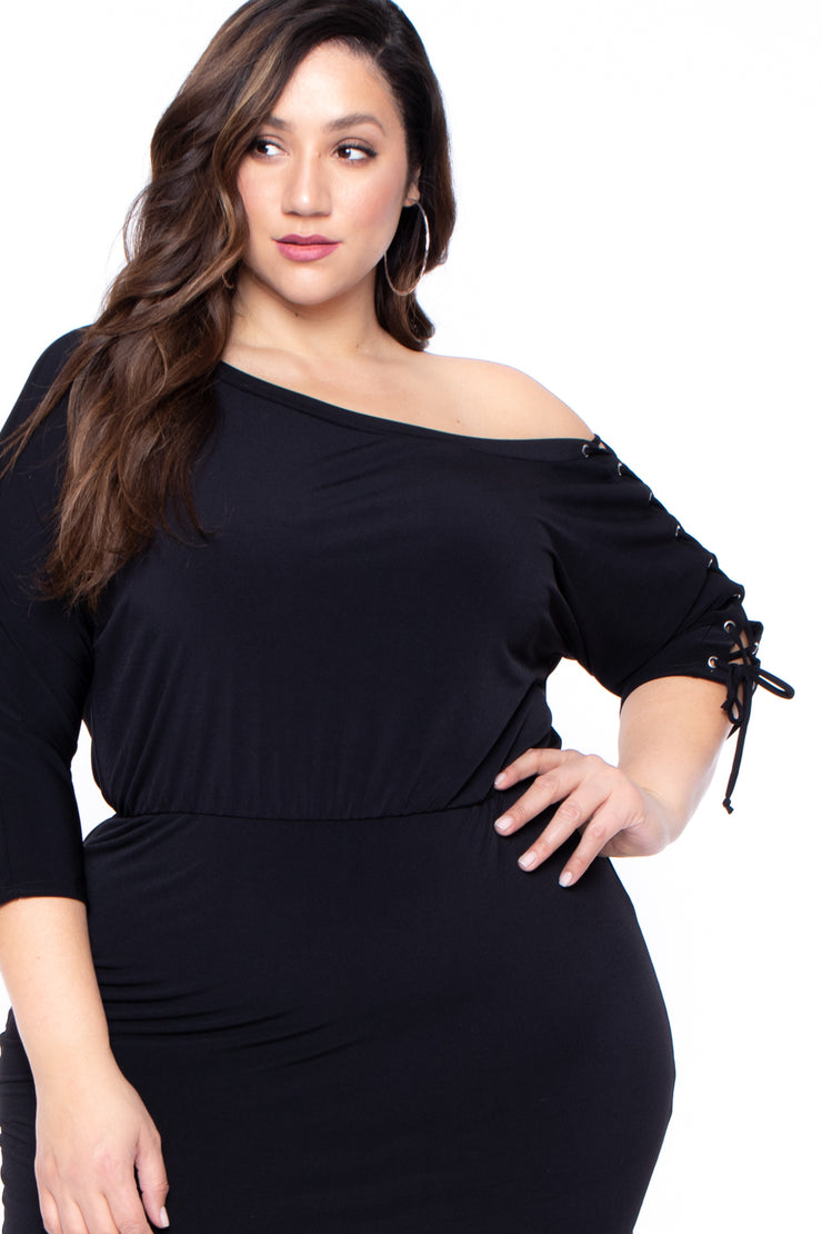 Plus Size Altura Dolman Sleeve Dress - Black