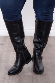 Catharine Wide Calf Boots - Black - Curvy Sense