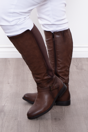 Catharine Wide Calf Boots - Brown - Curvy Sense