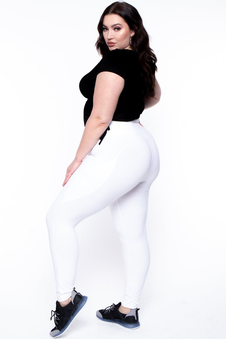 Plus Size Active Side Pocket Legging - White