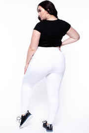 Curvy Sense -Plus_Size_Womens- Plus Size Active Side Pocket Legging - White
