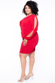 Plus Size Allie Cowl Neck Dress - Red