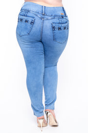 Plus Size Acid Wash Ladder Caged Jeans - Medium Wash - Curvy Sense