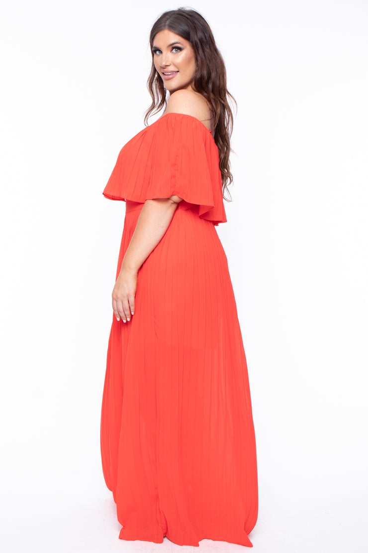 Plus Size Accordion Pleated Maxi Dress - Tomato