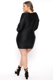 Plus Size  Jaqueline Keyhole Dress - Black - Curvy Sense