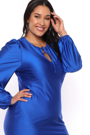 Plus Size  Jaqueline Keyhole Dress - Royal - Curvy Sense