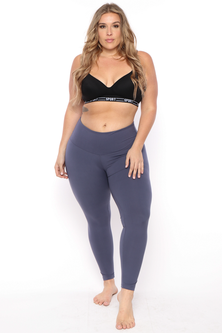 Plus Size Active Basic Leggings - Blue - Curvy Sense
