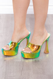 Curvy Sense -Plus_Size_Womens- Last Call Mermaid Platform Mules - Green