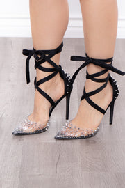 Jungle Bird Spike Covered Wrap Around Pumps - Black