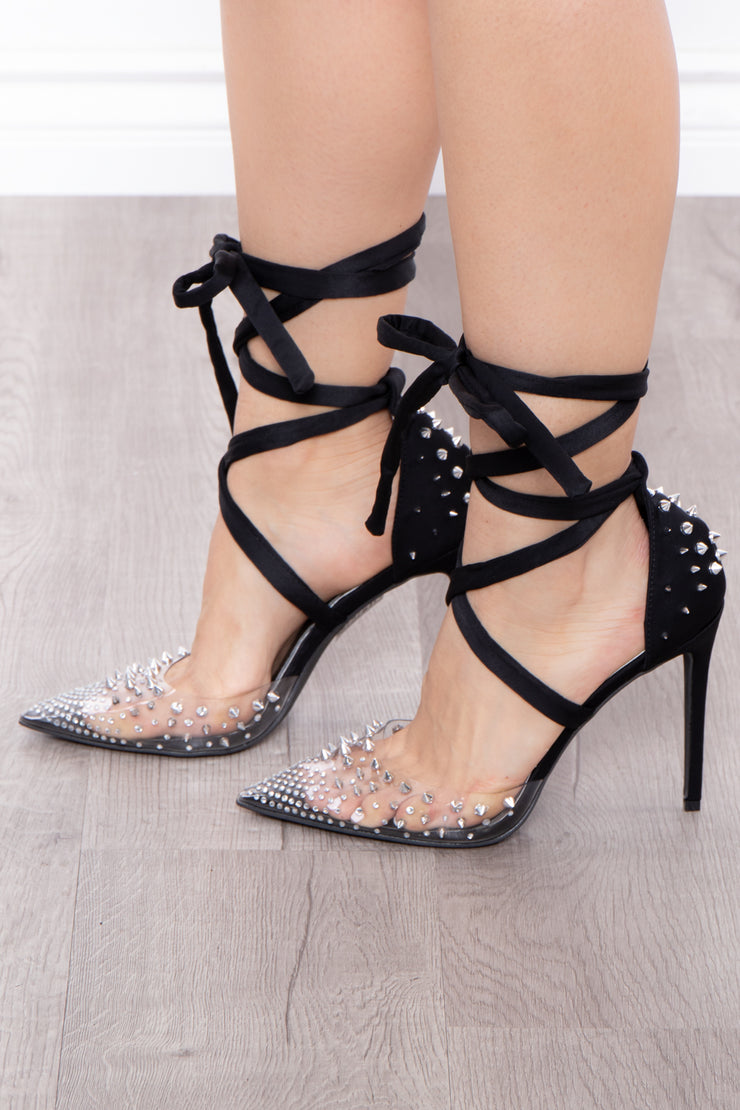Jungle Bird Spike Covered Wrap Around Pumps - Black - Curvy Sense