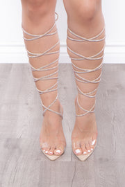 Batida Rhinestone Wrap Around Pointy Stilettos - Beige