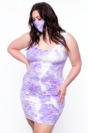 Plus Size Adira Tie Dye Print Matching Set - Purple