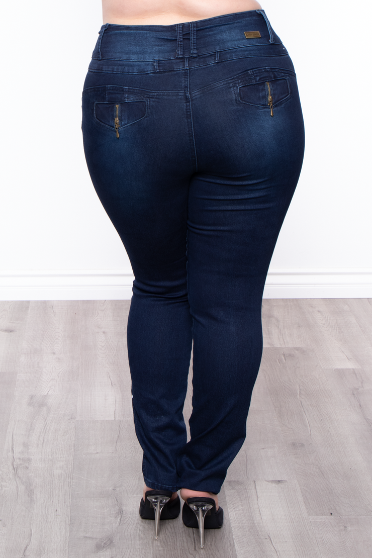 Plus Size 4-Button Push Up Skinny Jean - Indigo