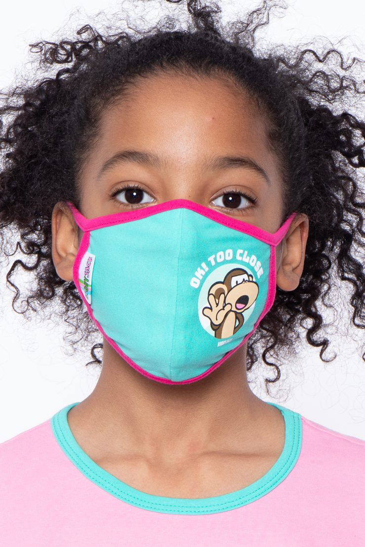 Curvy Sense -Plus_Size_Womens- Kids Washable Bobby Jack Printed Face Mask - Ages 4 - 11