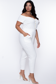 Curvy Sense -Plus_Size_Womens- Plus Size Alexia Off Shoulder Jumpsuit - Ivory