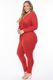 Curvy Sense -Plus_Size_Womens- Plus Size Alicia Draped Jumpsuit - Rust