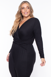 Curvy Sense -Plus_Size_Womens- Plus Size Alicia Draped Jumpsuit - Black