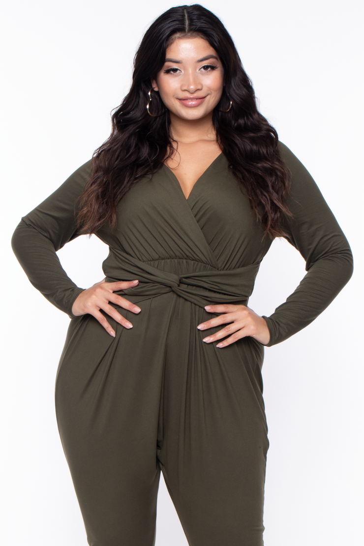 Curvy Sense -Plus_Size_Womens- Plus Size Alicia Draped Jumpsuit - Olive