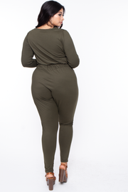 Plus Size Alicia Draped Jumpsuit - Olive - Curvy Sense
