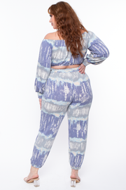 Curvy Sense -Plus_Size_Womens- Plus Size Abstract Crop & Joggers Set - Blue