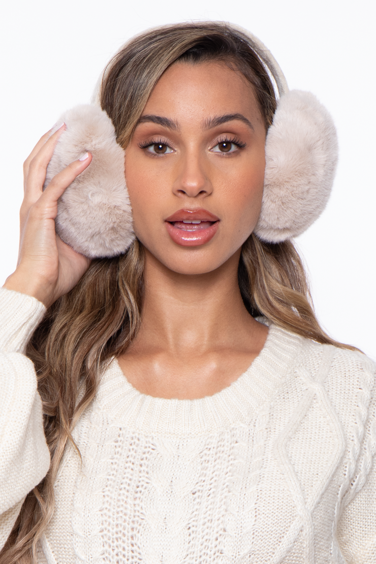 Curvy Sense -Plus_Size_Womens- Basic Fluffy Faux Fur Ear Muffs - Beige