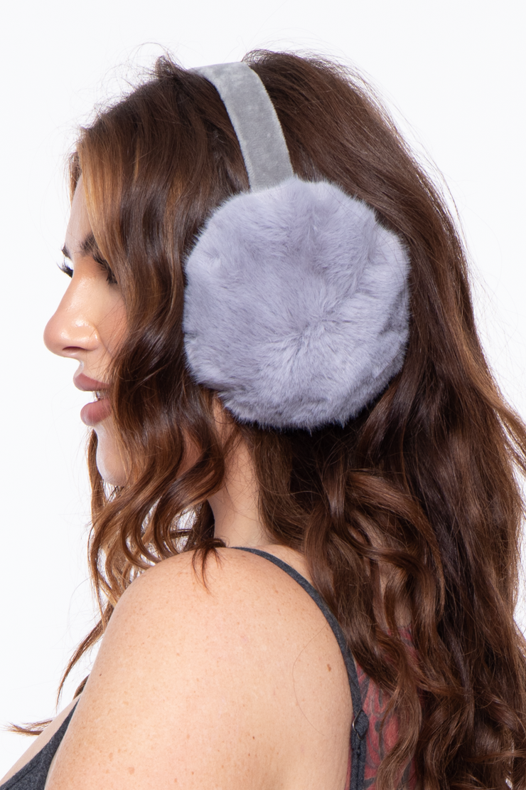 Curvy Sense -Plus_Size_Womens- Basic Fluffy  Faux Fur Ear Muffs - Grey