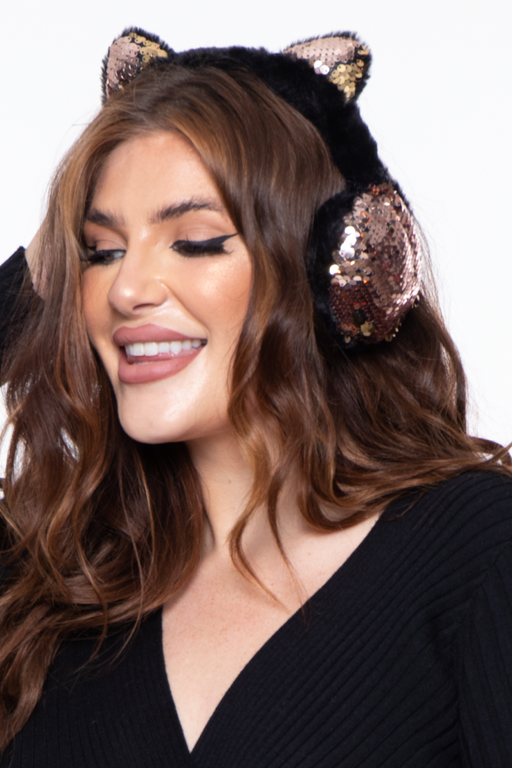 Curvy Sense -Plus_Size_Womens- Fluffy Sequin Faux Fur Ear Muffs with kitty ears- Black
