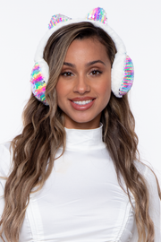 Curvy Sense -Plus_Size_Womens- Fluffy Sequin Faux Fur Ear Muffs with kitty ears- White