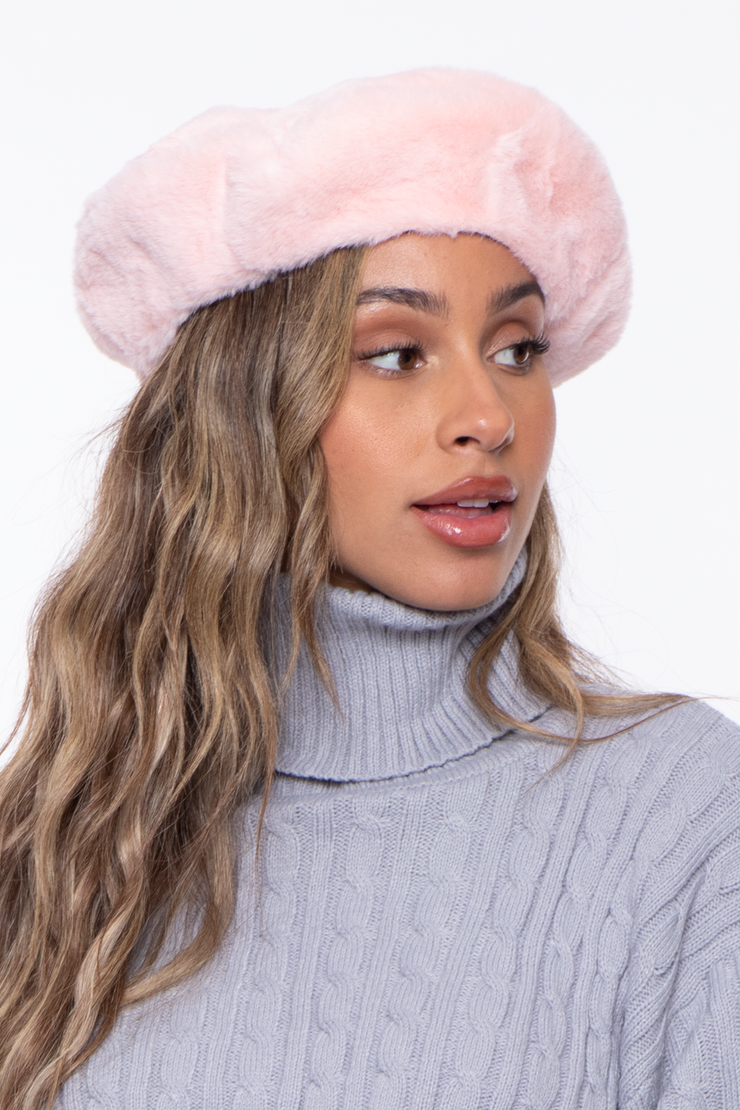 Curvy Sense -Plus_Size_Womens- Faux Fur Fluffy Beret- Blush