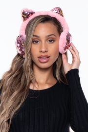 Curvy Sense -Plus_Size_Womens- Fluffy Sequin Faux Fur Ear Muffs with kitty ears- Pink