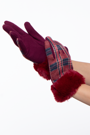 Curvy Sense -Plus_Size_Womens- Plaid Gloves with faux fur cuff- Red