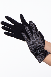 Curvy Sense -Plus_Size_Womens- Leopard Gloves  with wrist tie - Grey