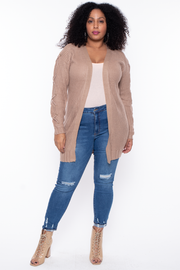Curvy Sense -Plus_Size_Womens- Plus Size Lace-Up Sleeve Knit Cardigan - Taupe