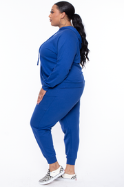 Curvy Sense -Plus_Size_Womens- Plus Size Annie Cozy Hoodie Set - Royal Blue