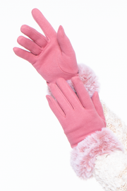 Curvy Sense -Plus_Size_Womens- Basic Gloves With Faux Fur Cuff- Pink