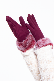Curvy Sense -Plus_Size_Womens- Basic Gloves with faux fur cuff- Burgundy