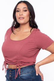 Curvy Sense -Plus_Size_Womens- Plus Size Alina Ribbed Crop Top  - Brick
