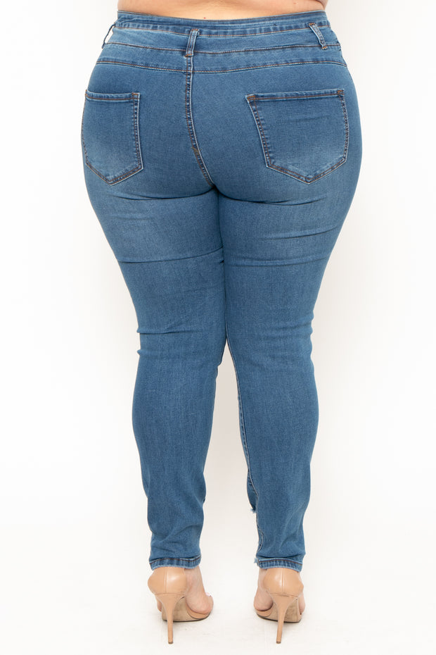 Plus Size 3-Button Distressed Jean - Medium Wash