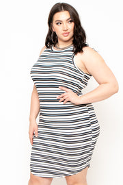 Plus Size Averie Striped Dress - Black