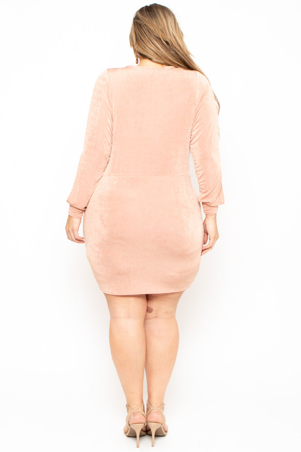 Plus Size Allie Cowl Neck Dress - Mauve