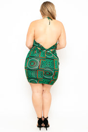 Plus Size  Baroque Print Twist-Back Dress - Green