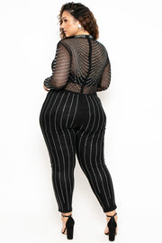 Curvy Sense -Plus_Size_Womens- Plus Size 14K Sheer Mesh Rhinestone Jumpsuit - Black