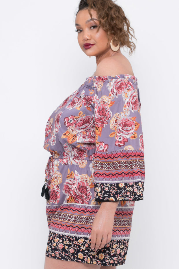 Plus Size Off The Shoulder Floral Border Romper - Purple