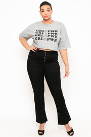Plus Size Button-Fly Flared Jean - Black
