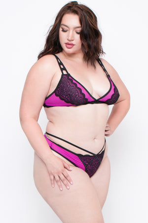 High Apex Lace Mesh Bra & Thong Set - Purple
