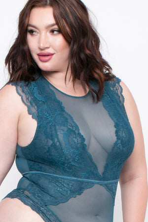 Floral Lace Teddy Lingerie - Teal