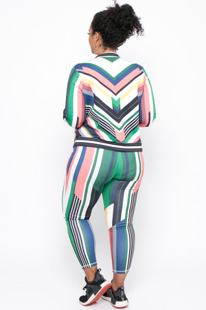 Plus Size Abstract Tracksuit Set - Green