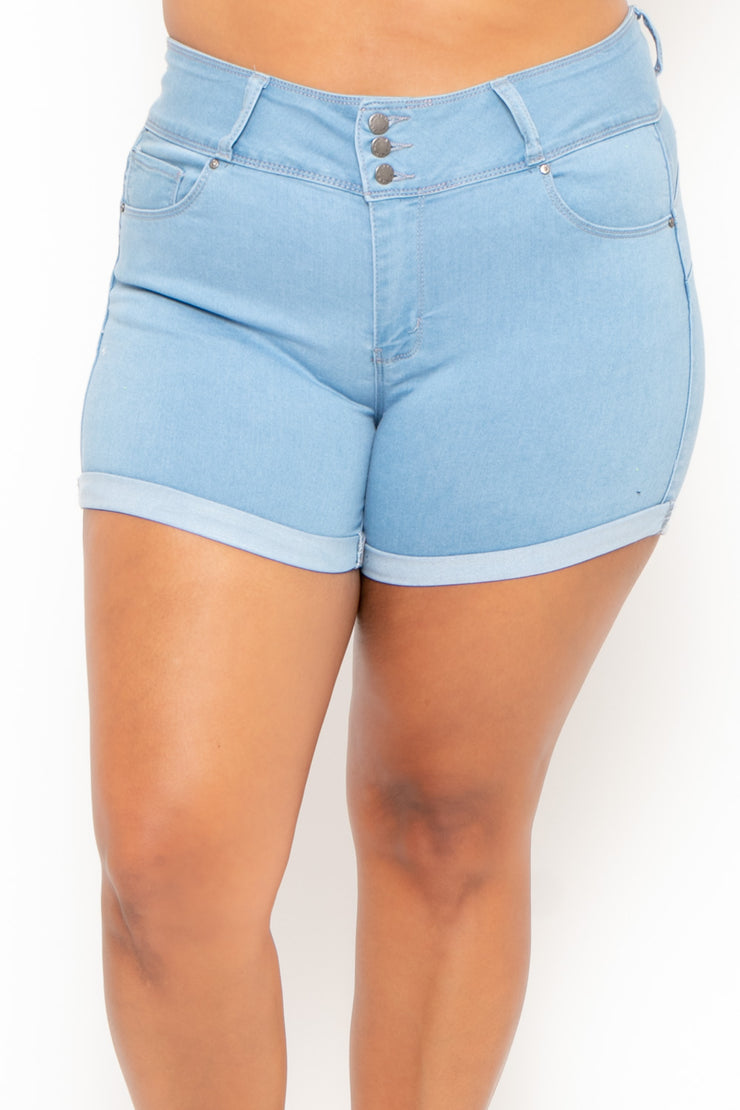 Plus Size 3-Button Jean Shorts - Light Wash