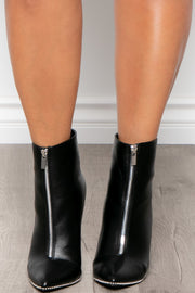 Manhattan Zip-Up Faux Leather Booties - Black